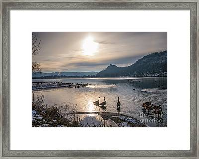 Winter Sugarloaf With Geese Framed Print