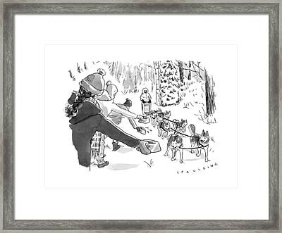 Winter Suited Volunteers Hold Out Dog Dishes Framed Print by Trevor Spaulding