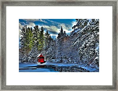 Winter Sun On The Red Boathouse Framed Print by David Patterson
