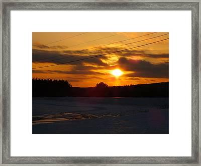 Winter Sun Sets 4 Framed Print by Gene Cyr