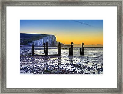 Winter Sunrise At Low Tide At Seven Sisters Cliffs Framed Print by Matthew Gibson