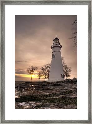 Winter Sunrise At Marblehead Lighthouse - Portrait Framed Print