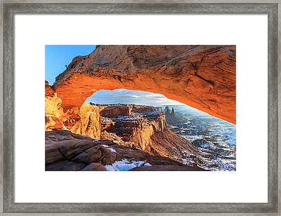 Winter Sunrise At Mesa Arch Framed Print