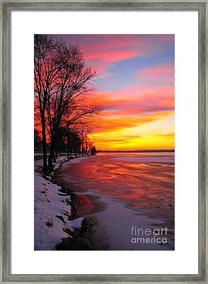 Winter Sunrise On Lake Cadillac Framed Print