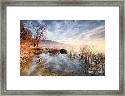 Winter Sunrise Over Lake In North Italy Framed Print
