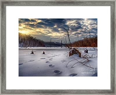 Winter Sunrise Over Monksville Framed Print by Mark Miller