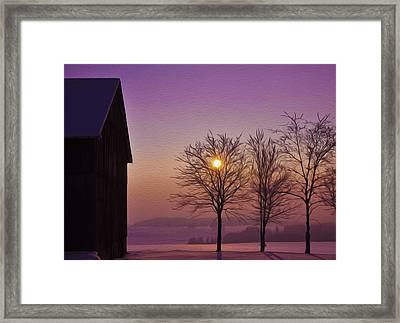 Winter Sunset Framed Print by Aged Pixel