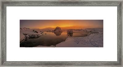 Winter Sunset And Fog Over Lake Myvatn Framed Print