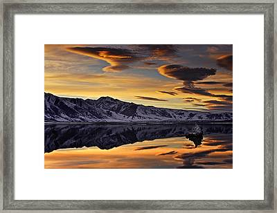 Winter Sunset At Mono Lake Framed Print