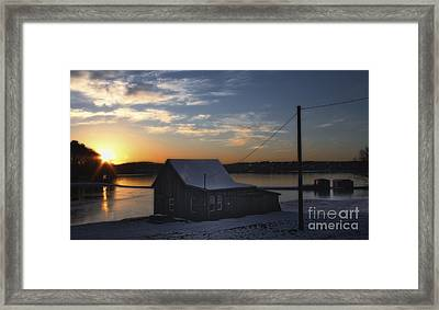 Winter Sunset At The Bog Framed Print by Gina Cormier