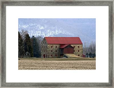 Winter Sunset  At The Old Snyder Stone Barn Framed Print by Gene Walls