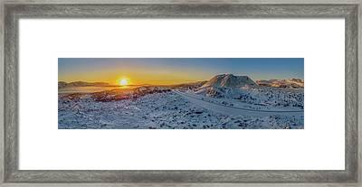 Winter Sunset, Borgarfjordur, Iceland Framed Print
