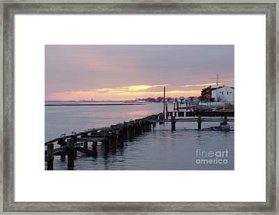 Winter Sunset Freeport Framed Print by John Telfer