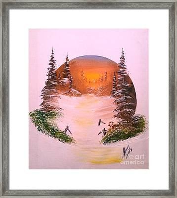 Winter Sunset In A Circle Framed Print by Collin A Clarke