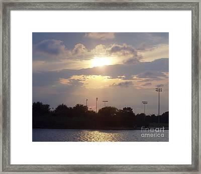 Winter Sunset In Freeport Ny Framed Print by John Telfer