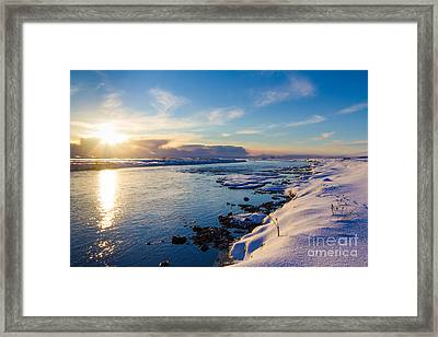 Winter Sunset In Iceland Framed Print by Peta Thames