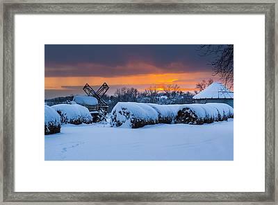 Winter Sunset On The Farm Framed Print