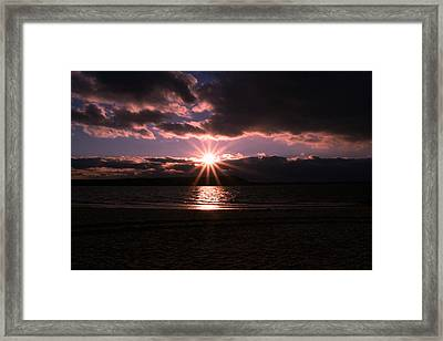 Framed Print featuring the photograph Winter Sunset by Karen Silvestri