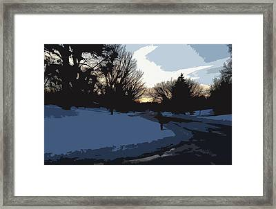 Framed Print featuring the digital art Winter Sunset by Kirt Tisdale