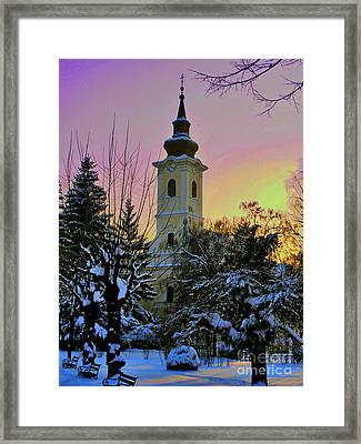 Winter Sunset Framed Print by Nina Ficur Feenan