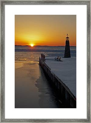 Framed Print featuring the photograph Winter Sunset On Lake Winneconne by Judy  Johnson