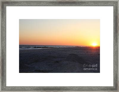 Winter Sunset On Long Beach Framed Print by John Telfer