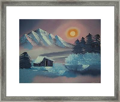Winter Sunset--original Landscape Oil Painting Framed Print by Laura SONG