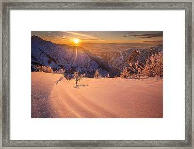 Winter Sunset Over Ogden Framed Print by Rory Wallwork