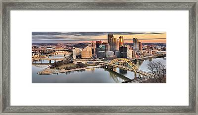 Winter Sunset Over The Pittsburgh Skyline Framed Print
