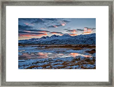 Winter Sunset Reflection Framed Print by Cat Connor