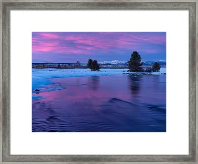 Winter Sunset Reflection Framed Print