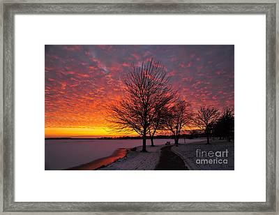 Framed Print featuring the photograph Winter Sunset by Terri Gostola