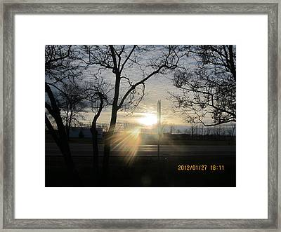 Winter Sunset Through The Trees Framed Print by Tina M Wenger