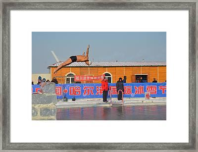 Winter Swimming Framed Print by Brett Geyer