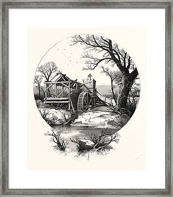 Winter. The Trees Stand Shivering In The Frosty Air Framed Print