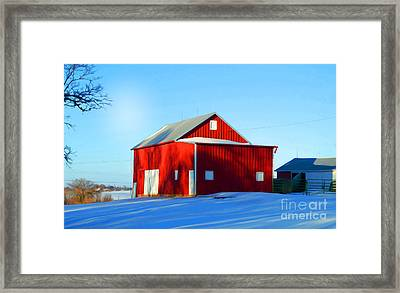 Winter Time Barn In Snow Framed Print by Luther Fine Art