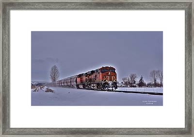 Framed Print featuring the photograph Winter Train by Lynn Hopwood