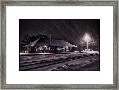 Winter Train Station  Framed Print