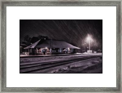 Winter Train Station  Framed Print