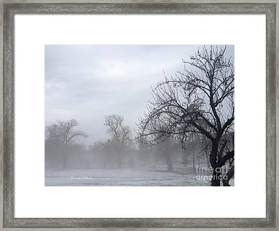 Framed Print featuring the photograph Winter Trees With Mist by Jeannie Rhode