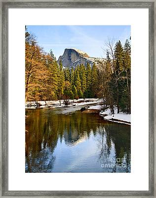 Winter View Of Half Dome In Yosemite National Park. Framed Print