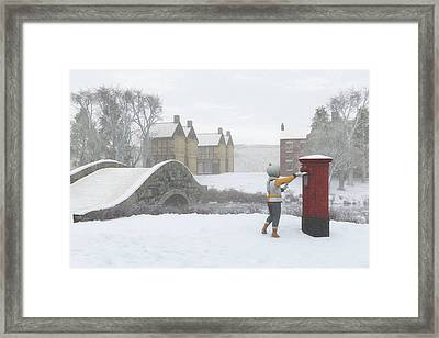 Winter Village With Postbox Framed Print