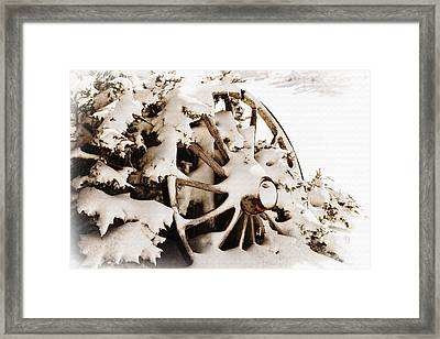 Winter Wagon Wheel Framed Print