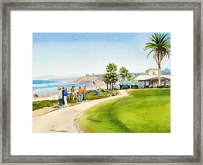 Winter Walk Del Mar Framed Print by Mary Helmreich