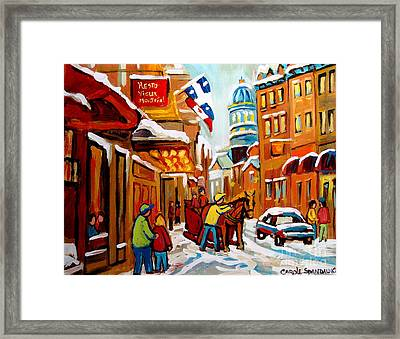 Winter Walk Montreal Framed Print by Carole Spandau