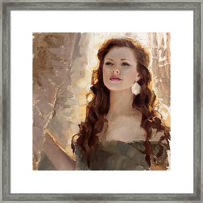 Winter Warmth - Impressionistic Portrait Framed Print