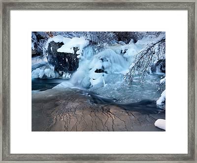 Winter Waterfall Framed Print by Leland D Howard