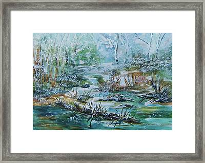 Framed Print featuring the painting Winter Whispers On Catskill Creek by Ellen Levinson