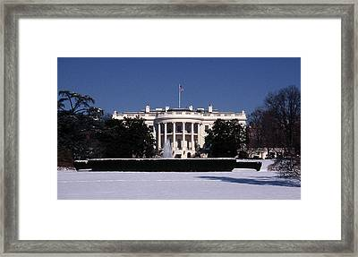 Winter White House  Framed Print by Skip Willits
