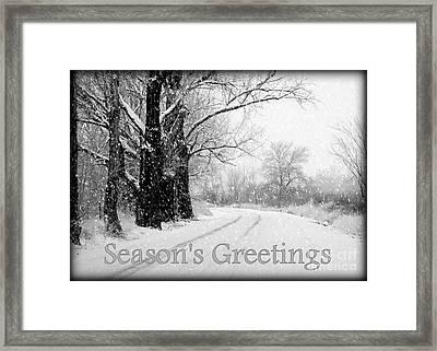 Winter White Season's Greeting Card Framed Print